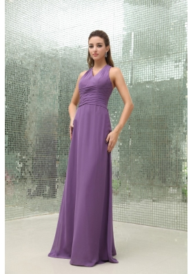 Empire Chiffon Purple V-neck Bridesmaid Dress Ruched Floor-length