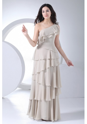 Ruffled Layers Decorate Bodice Grey Chiffon One Shoulder Floor-length 2013 Prom Dress