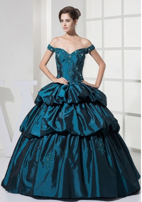 Appliques With Beading and Pick-ups Decorate Bodice Off The Shoulder Ball Gown Quinceanera Dress For 2013 Floor-length