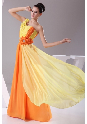 Hand Made Flowers With Beading and Ruching Decorate Bodice Orange and Yellow Chiffon Prom Dress Floor-length