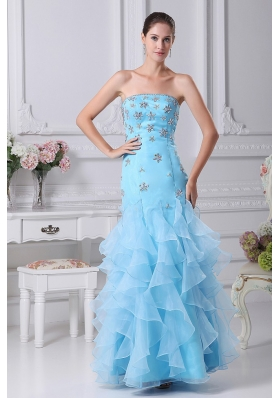 Beading and Ruffles Decorate Bodice Mermaid Aqua Blue Ankle-length Prom Dress For 2013 Strapless