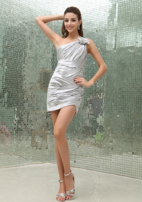 Silver Prom Dress With One Shoulder Hand Made Flowers and Ruched Over Skirt