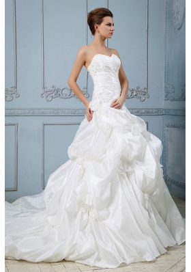 New Arrival 2013 Wedding Dress With Sweetheart Pick-ups Ball Gown Appliques and Hand Made Flower Court Train