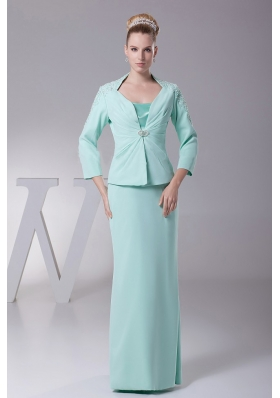 Apple Green Chiffon Mother Of The Bride Dress New Style Custom Made
