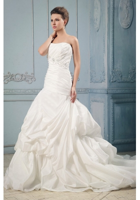 Custom Made 2013 Ball Gown Wedding Dress With Ruching and Beading Pick-ups Court Train