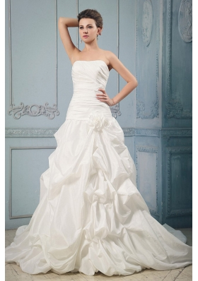 Brand New 2013 Wedding Dress With Pick-ups and Hand Made Flower Chapel Train