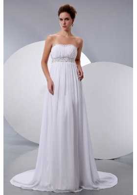 Pretty 2013 Wedding Dress With Beading Court Train Chiffon Empire