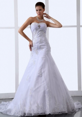 Lace Appliques Sweetheart Tulle Stylish Wedding Dress