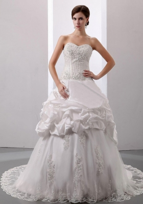Pick-ups Sweetheart Court Train Wedding Dress Taffeta New Style 2013
