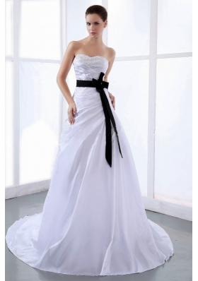 Black Sash Wedding Dress With Taffeta A-line Court Train Sweetheart
