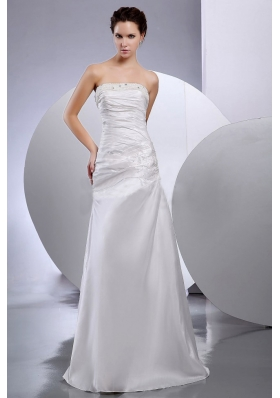 Taffeta Column Strapless Beaded Floor-length Wedding Dress