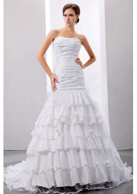 Ruffles and Ruched Mermaid Taffeta Strapless Court Train Wedding Dress