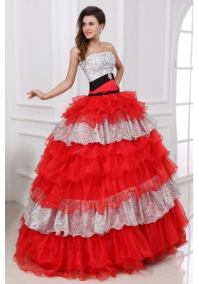 Red and White Strapless Organza Quinceanera Dress with Beading