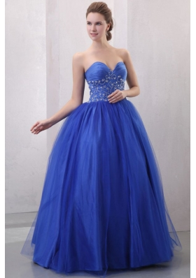Beaded Decorate Sweetheart Royal Blue Quinceanera Dress with Ruches