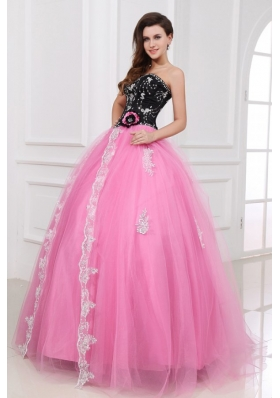 Black and Rose Pink Quinceanera  Dress with Beading and Appliques