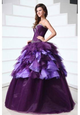Sweetheart Dark Purple Sweep Train Quinceanera Dress with Beading