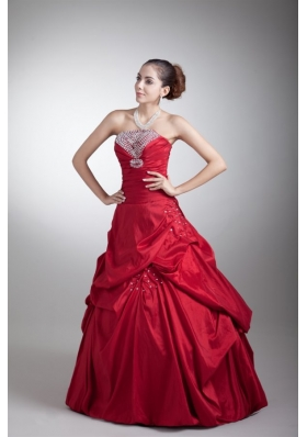 Wine Red A-line Strapless Taffeta Quinceanera Dress with Beading