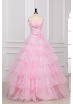 Baby Pink Sweetheart Quinceanera Dress with Beading and Ruffles Layered