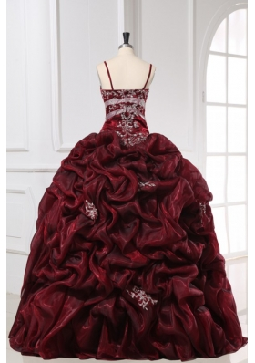 Burgundy Spaghetti Straps Appliques and Pick-ups Long Quinceanera Dress