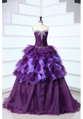Dark Purple Sweetheart Beading and Ruffles Sweep Train Quinceanera Dress