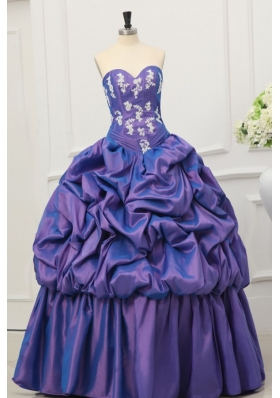 Sweetheart Taffeta Appliques and Pick-ups Quinceanera Dress in Purple
