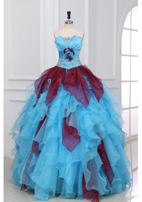 Strapless Beading and Ruche Quinceanera Dress in Aqua and Wine Red