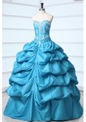 Teal Sweetheart Taffeta Quinceanera Dress with Appliques and Pick-ups  198.69