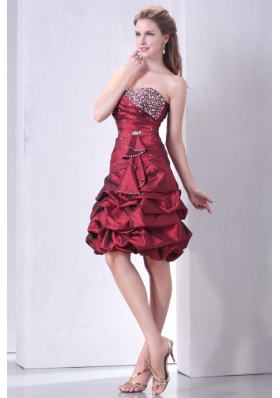 Burgundy A-line Strapless Prom Dress with Beading and Pick-ups