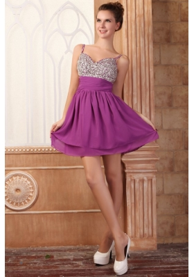 Fuchsia Short Mini-length Spaghetti Straps Prom Dress with Beading