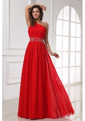 Red One Shoulder Beaded Decorate Waist Floor-length Prom Dress
