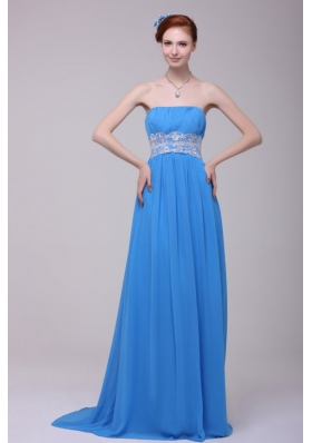 Teal Strapless Empire Chiffon Appliques Prom Dress with Brush Train