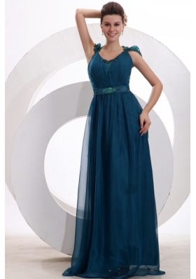 Navy Blue V-neck Cap Sleeves Beaded Decorate Brush Train Prom Dress