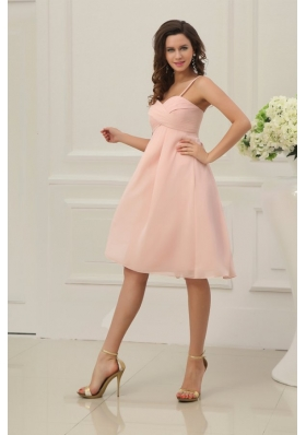 Baby Pink Spaghetti Straps Chiffon Prom Cocktail Dress