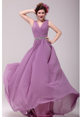 Beaded Decorate Waist V-neck Chiffon Lilac Prom Dress for Girls