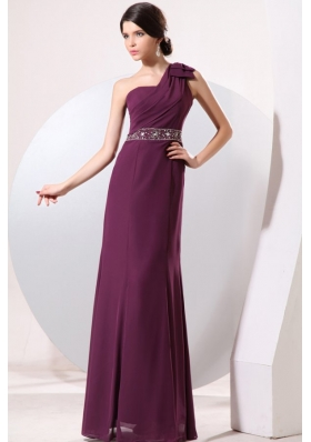 Column One Shoulder Floor-length Beading and Bowknot Prom Dress