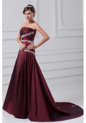 Burgundy A-line Prom Dress with Appliques Chapel Train