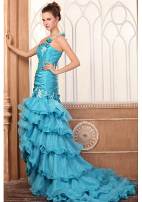 One Shoulder Appliques and Ruffles Layered Column Prom Dress in Teal
