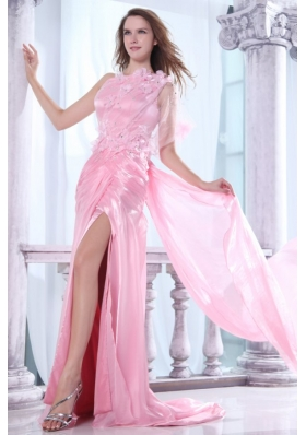 One Shoulder Column Flower and Beading Prom Dress in Baby Pink
