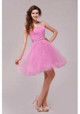 Rose Pink Halter Top Beading and Ruching Prom Dress