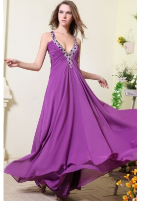 Sexy V-neck Empire Chiffon Beaded Decorate Prom Dress in Purple