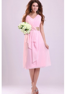 Baby Pink Empire V-neck Chiffon Prom Dress with Ruches