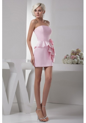 Column Baby Pink Hand Made Flower Mini-length Prom Dress