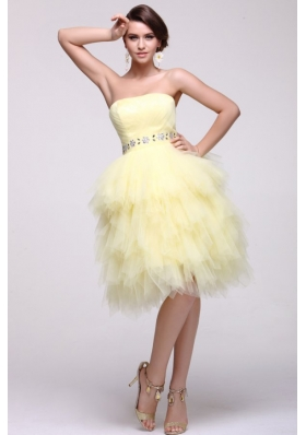 Light Yellow A-line Strapless Beaded Prom Dress with Layers