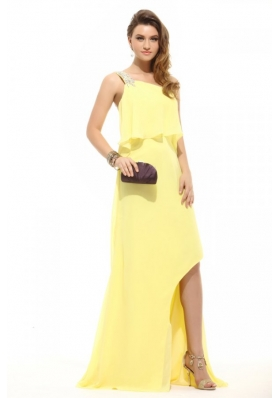 Simple Column Light Yellow One Shoulder Beading High-low Chiffon Prom Dress