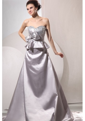A-line Sweetheart Silver Beading and Ruching Bow Wedding Dress