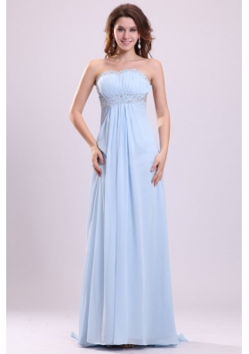 Blue Empire Strapless Brush Train Beading Chiffon Prom Dress with Backless