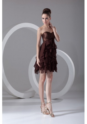 Cheap A-line Sweetheart Mini-length Chiffon Brown Prom Dress
