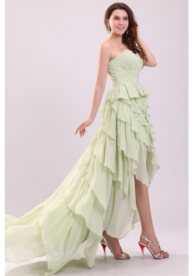 Empire Sweetheart High-low Ruching Chiffon Yellow Green Prom Dress 136.62