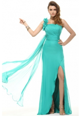 Empire Turquoise One Shoulder Chiffon Watteau Train Ruching Prom Dress
