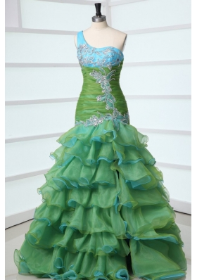 Mermaid One Shoulder Appliques Organza Multi-color Prom Dress